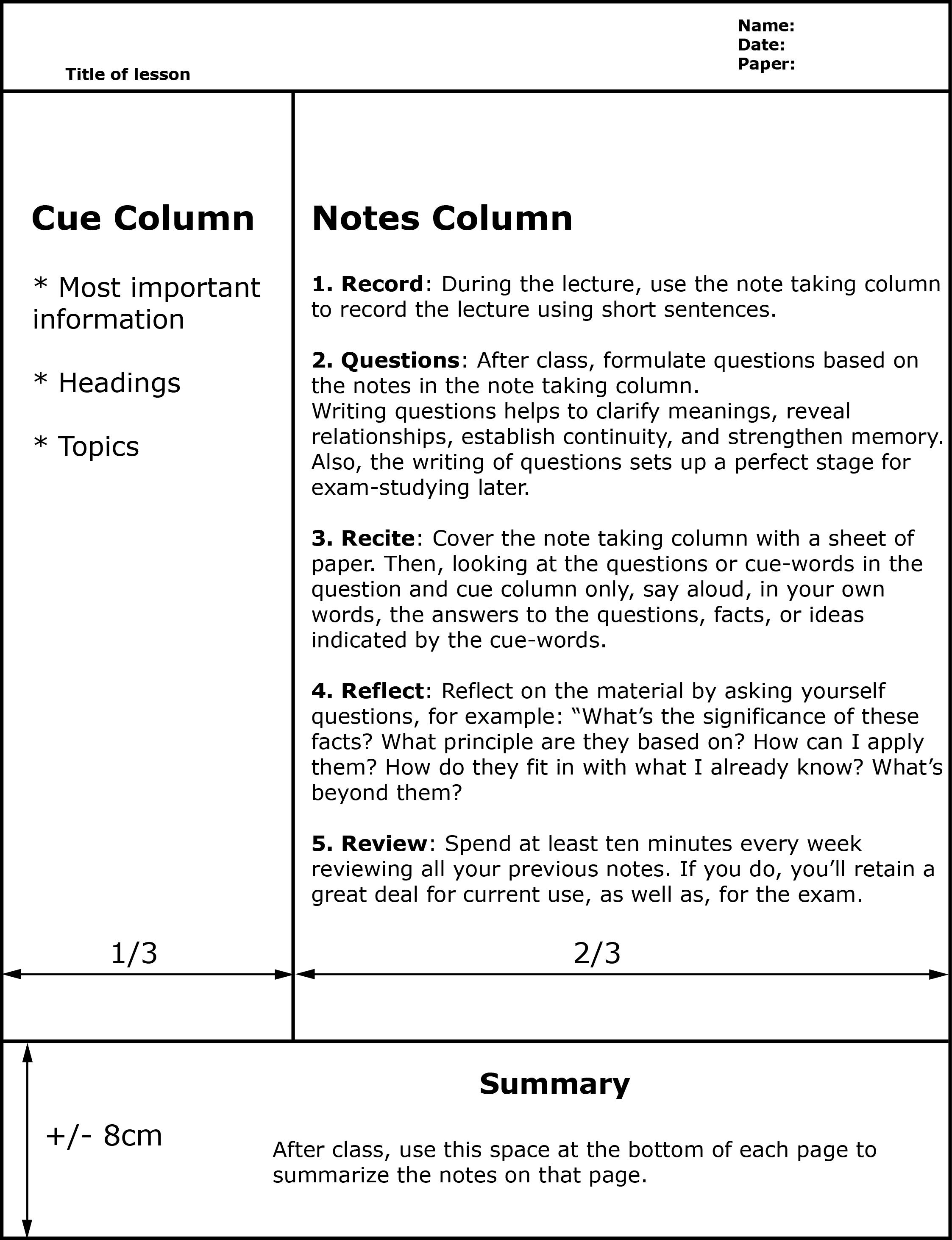Note Taking Methods Cornell